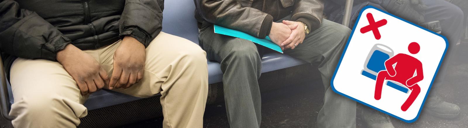 Breitbeinig sitzende Männer in der U-Bahn