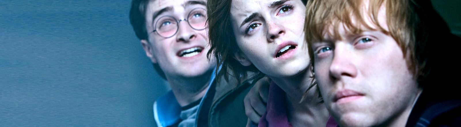 Die Harry-Potter-Helden Harry, Hermine und Ron.