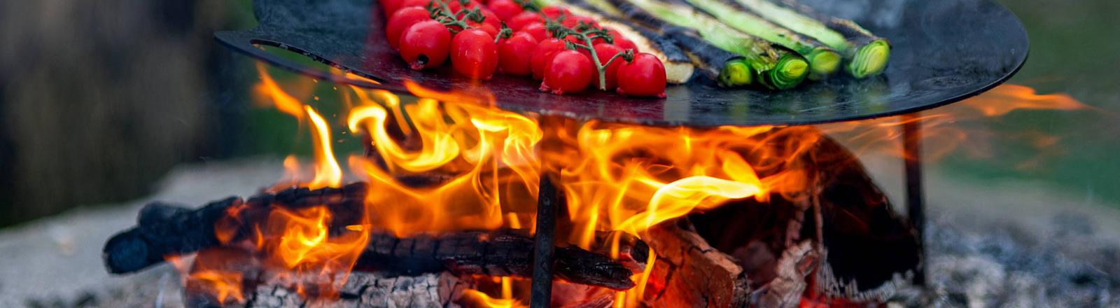 Auf einer Grillschale liegen Tomaten und Lauch, unter der Schale brennen Holzscheite.
