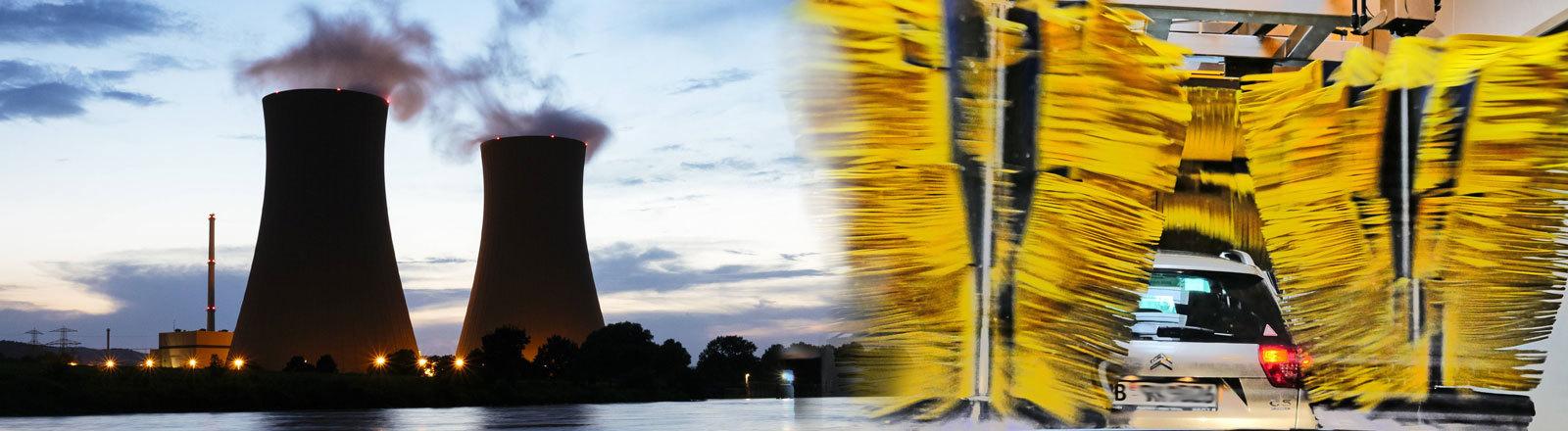 Collage: Das Foto links zeigt das Atomkraftwerk in Grohnde. Rechts ist ein Auto in einer Waschanlage abgebildet.