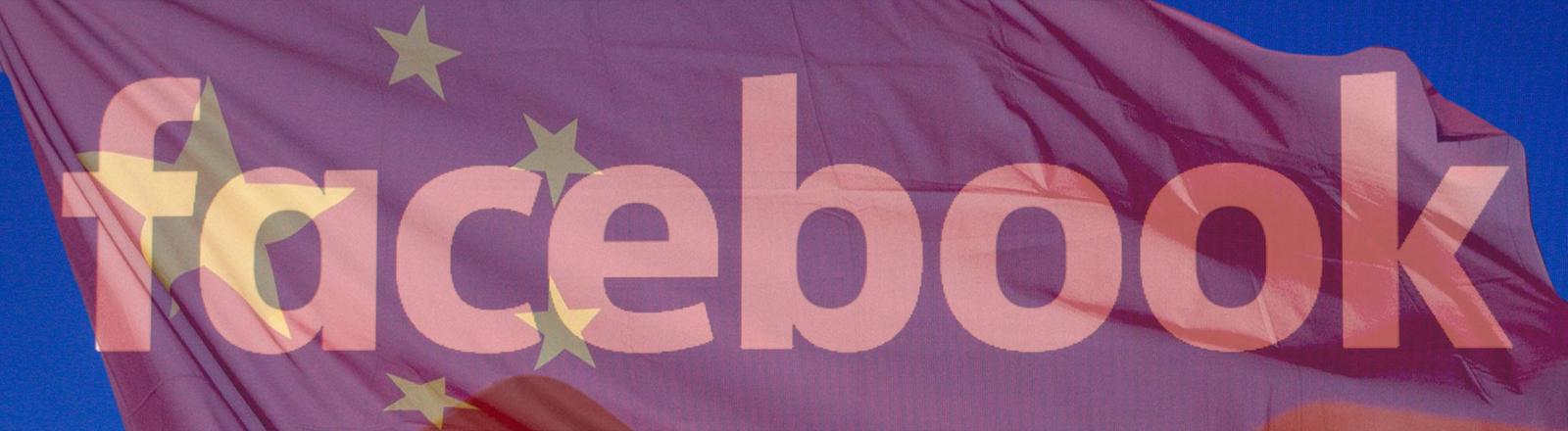 Das Facebook-Logo, davon transparent eine chinesische Flagge