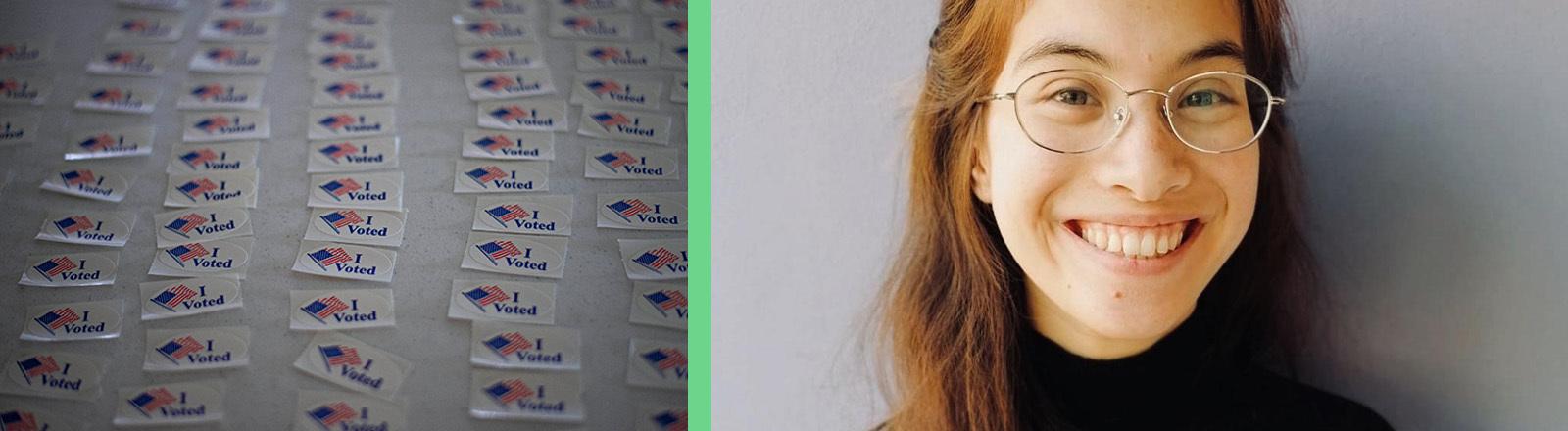"""Auf dem Foto links liegen viele Aufkleber sortiert in Reihen nebeneinander; darauf steht """"I voted"""" neben einer US-Flagge; das Foto rechts zeigt Anya Leonhard."""