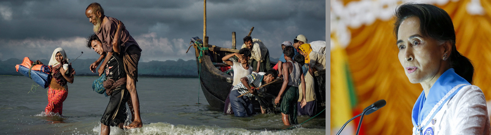 Eine Collage aus zwei Fotos: Das Foto links zeigt, wie am 13. September Rohingyas aus Myanmar in einem Boot in Bangladesch ankommen. Sie sind auf der Flucht. Das rechte Foto zeigt Friedensnobelpreisträgerin Aung Suu Kyi.