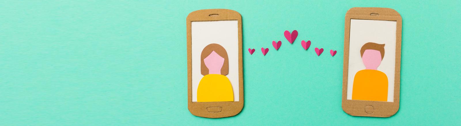 Grafik: Mann und Frau auf zwei Smartphone-Screens, dazwischen Herzen