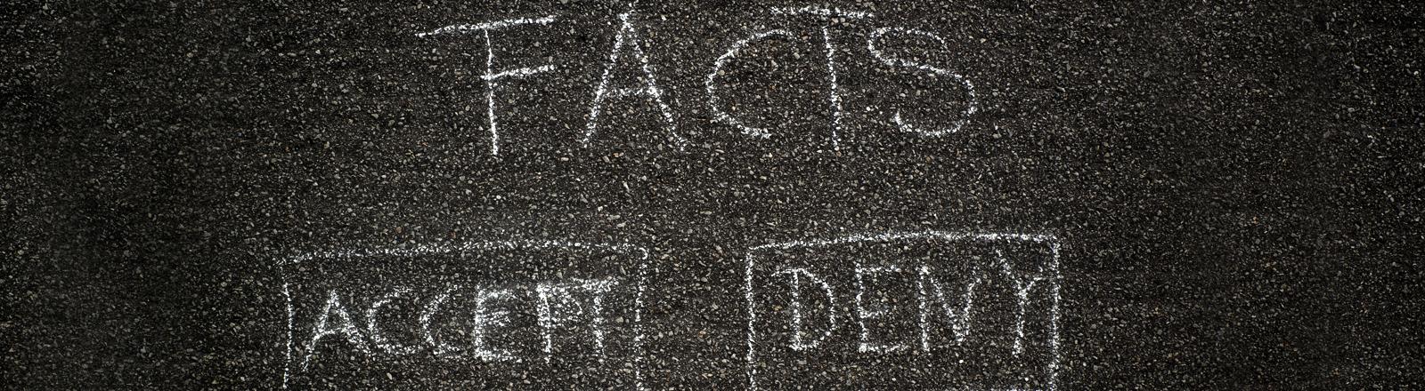 Mit Kreide steht auf Asphalt: Fakten, akzeptieren, ablehnen