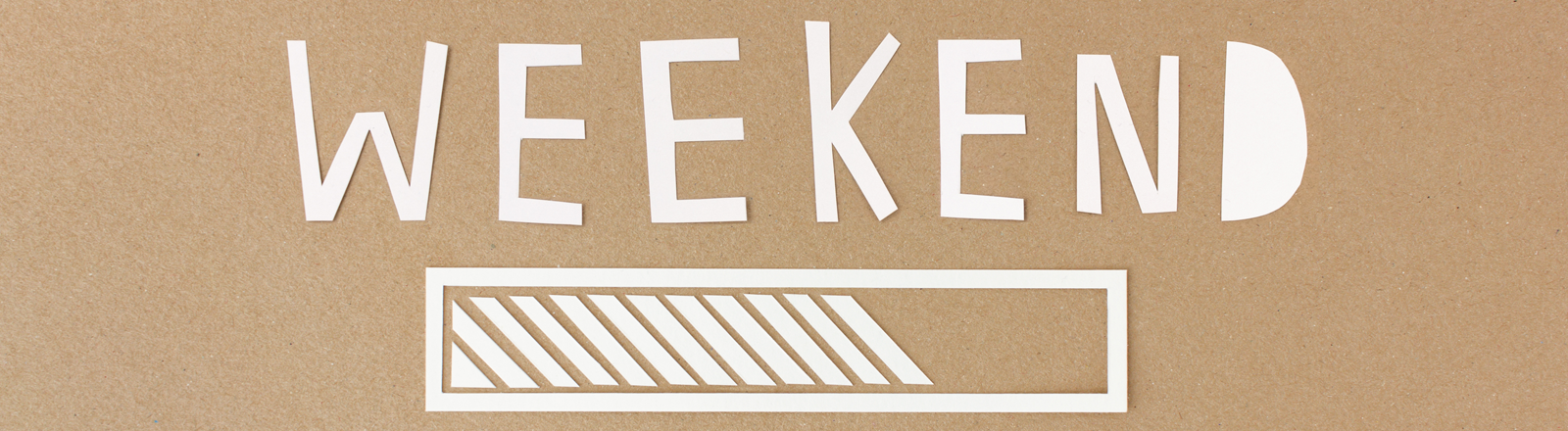 Ein Ladeblaken und darüber das Wort Wochenende