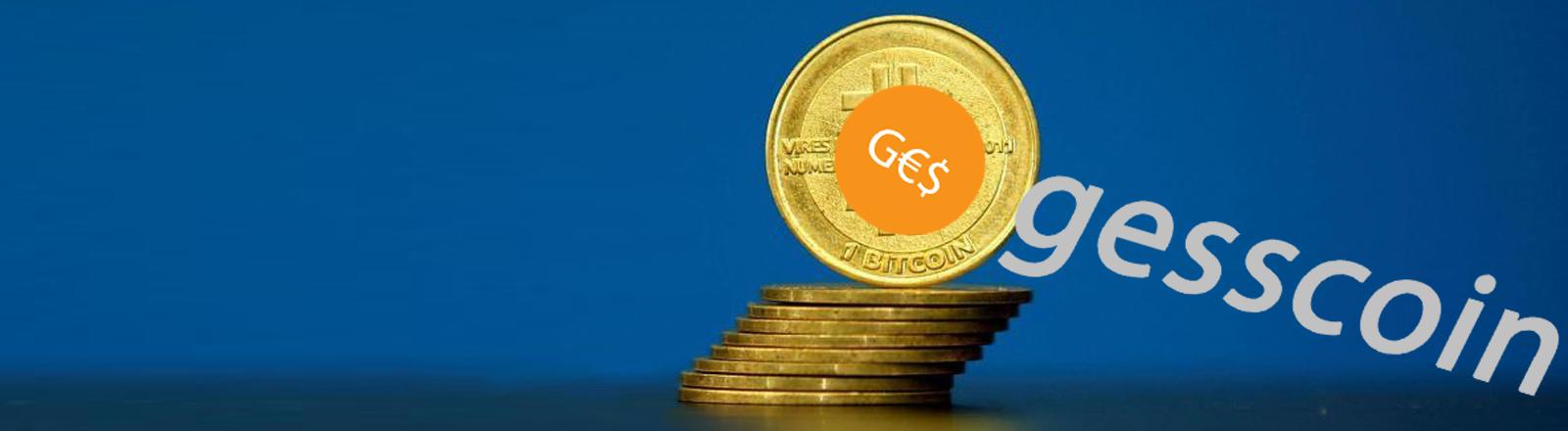 "Bildmontage: Bitcoin-Münze mit neuem Logo ""G€$"""