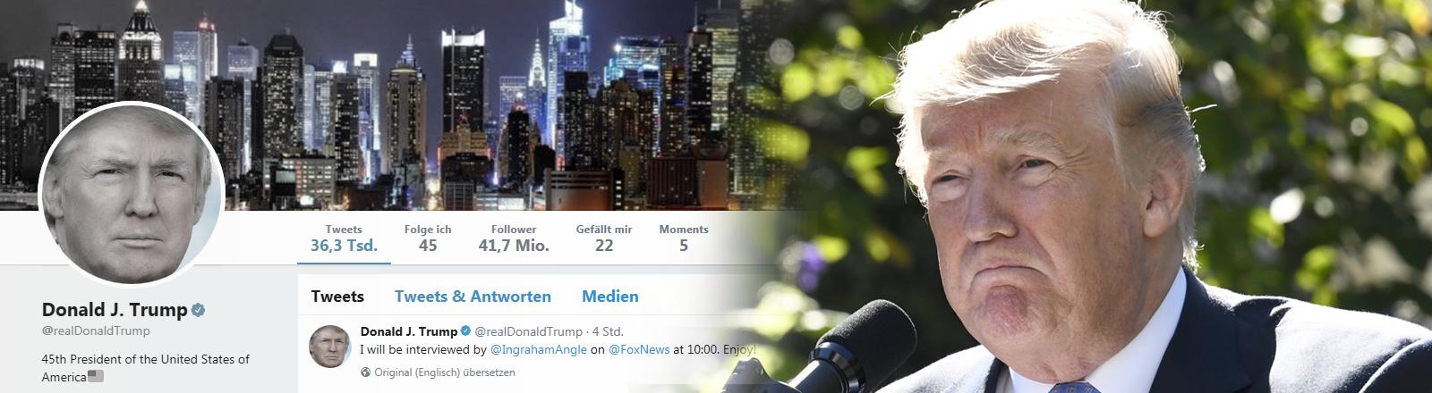 Donald Trump mit einem missmutigen Gesicht, daneben ein Screenshot von seinem Twitter-Account