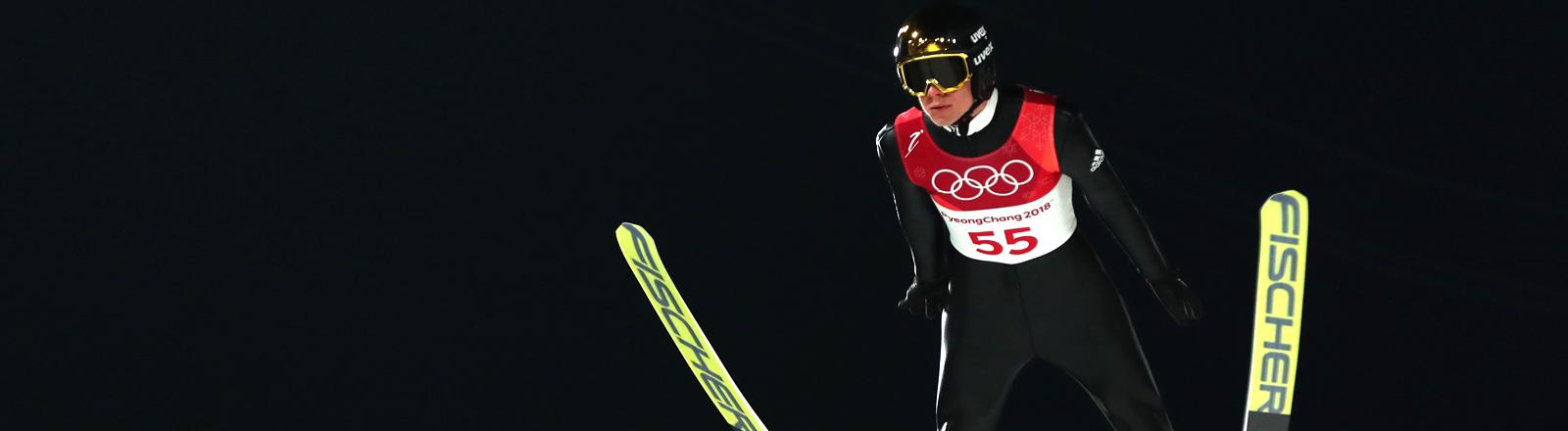 Andreas Wellinger beim Trainings-Springen in Südkorea