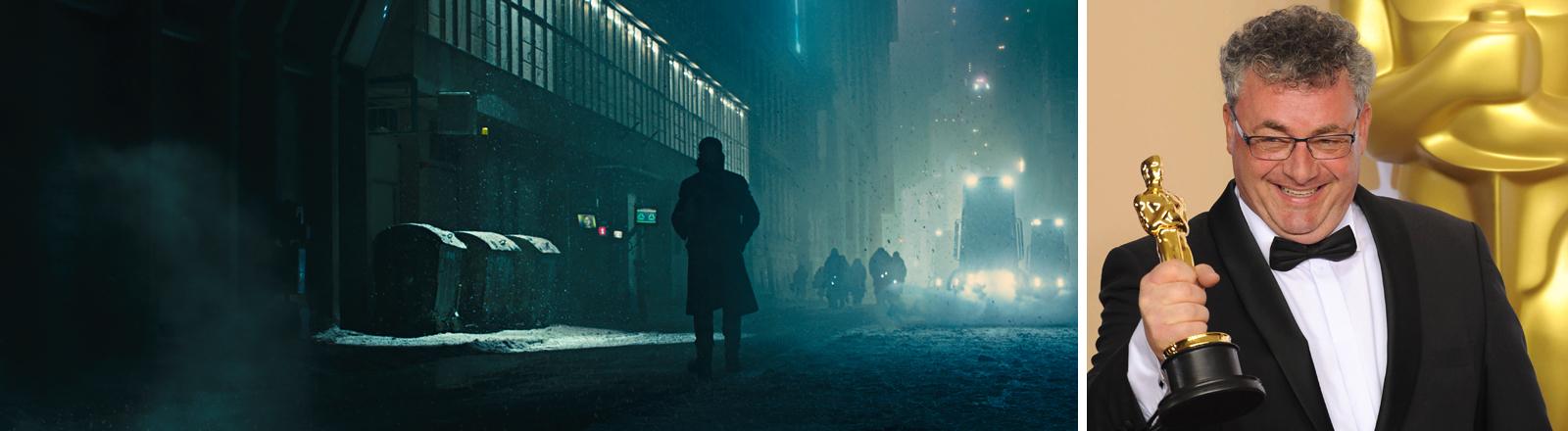 Szene aus Blade Runner 2019, Gerd Nefzer mit seinem Oscar für Visual Effect