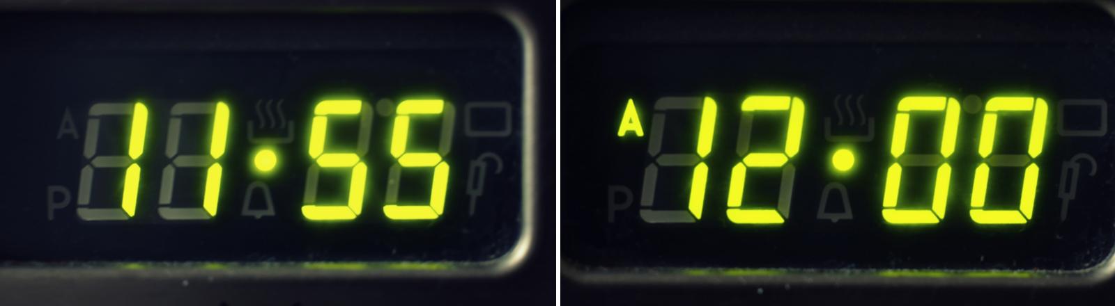 Zwei Digitaluhren im Vergleich