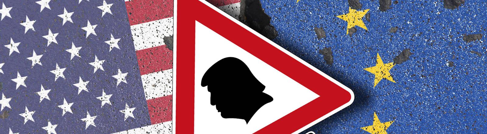Fotomontage: USA- und EU-Flagge, Verkehrsschild mit Trump-Profil