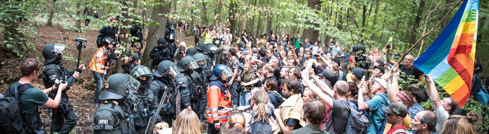 Demonstranten und Polizisten im Hambacher Forst
