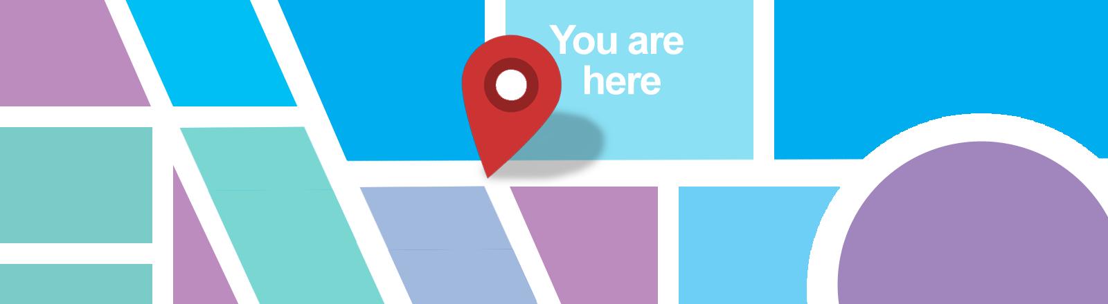 Eine Markierung zeigt auf einer Karte an: Du bist hier