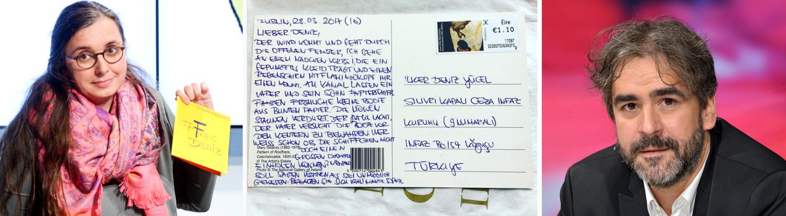 Links: Marie Sophie Hingst, Mitte: Eine Postkarte an Deniz Yücel, rechts: Deniz Yücel