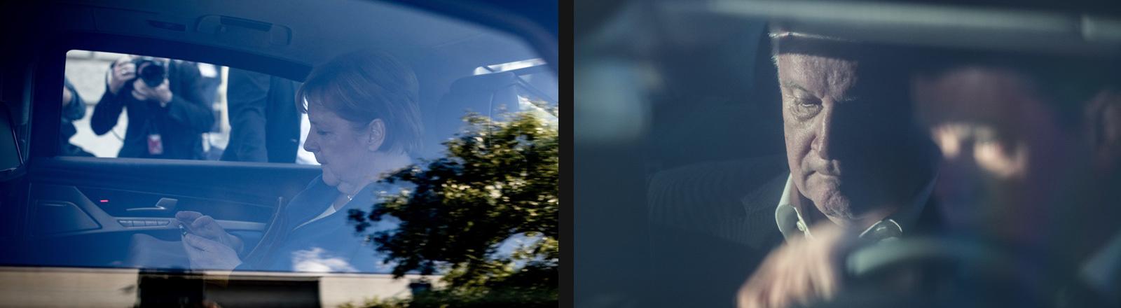 Collage; Foto links: Kanzlerin Merkel sitzt in ihrer Limousine und schaut auf das Handy, 02.07.18; Foto rechts: Innenminister Seehof sitzt in seiner Limousine auf dem Weg zu einem Treffen mit Merkel (30.06.18)