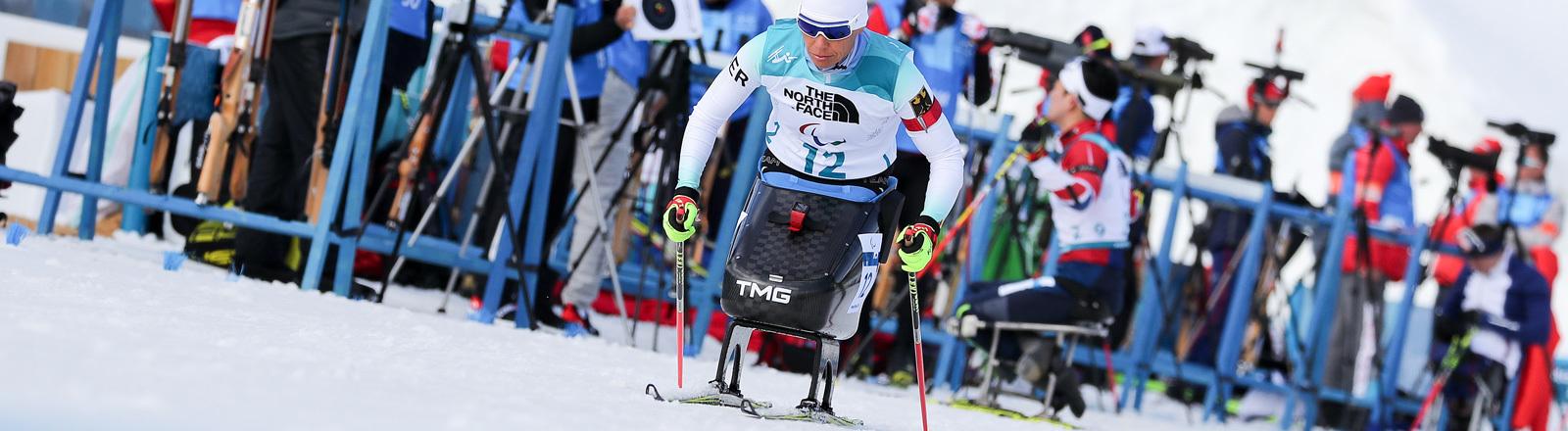 Die deutsche Athletin Andrea Eskau verlässt den Schießstand am 13.03.2018 bei den Paralympics in Südkorea; Foto: dpa