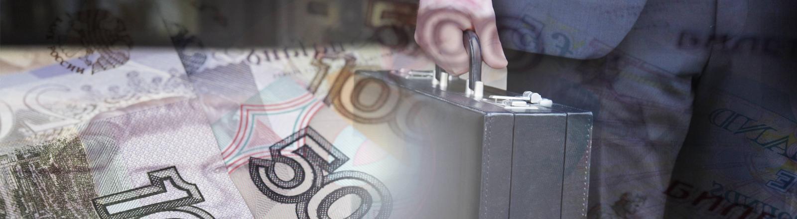 Bildmontage: Ein Mann in einem Anzug trägt einen Aktenkoffer, davor Banknoten