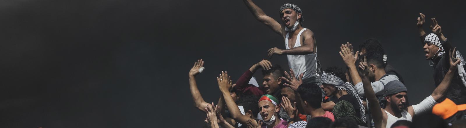 Palästinensische Protestanten im Gazastreifen.