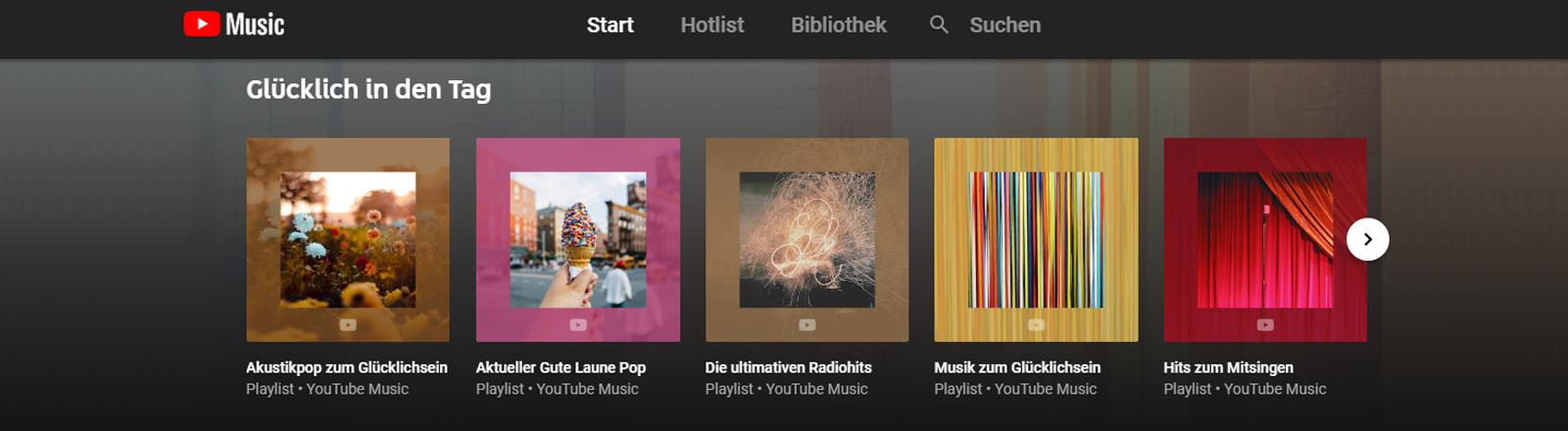 Die Startseite von Youtube Music zeigt ausgewählte Playlisten und die Navigation