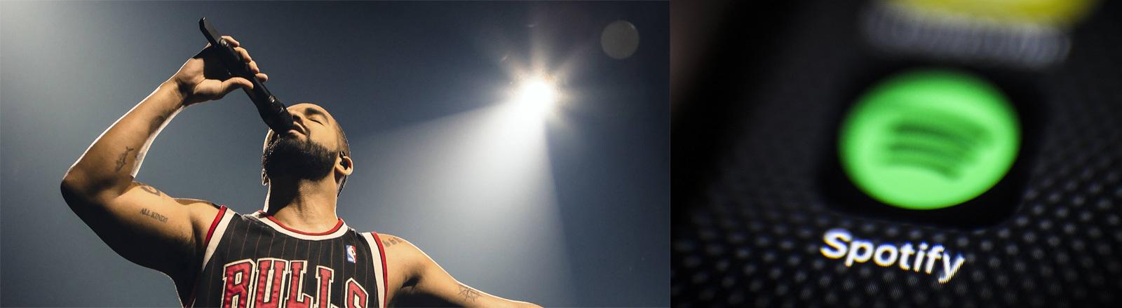 Collage; Bild links: Drake bei einem Konzert am 5. Oktober 2016 in Chicago; Bild rechts: Spotify Logo.