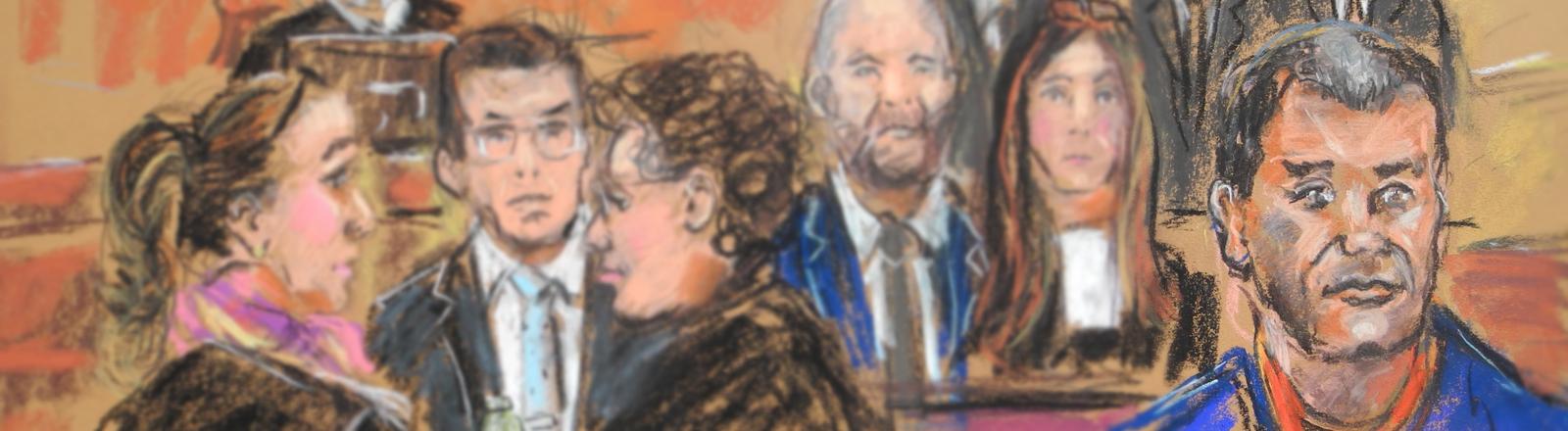 Der Drogenboss Joaquin Guzman Loera (vorne, rechts), bekannt als «El Chapo», bei einer Anhörung vor Gericht in NewYork, USA, am 03.02.2017. Hinten links sitzt der Richter Brian Cogan.