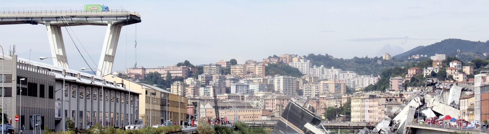 Am Rande der eingestürzten Brücke in Genua steht ein Grüner LKW, darunter sind die Trümmer zu sehen.