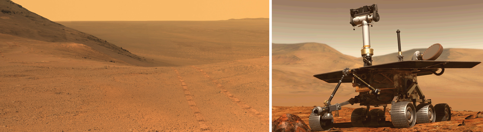 Der Mars Rover Opportunity in einer grafischen Darstellung, daneben Bilder, die der Rover zur Erde gesendet hat.