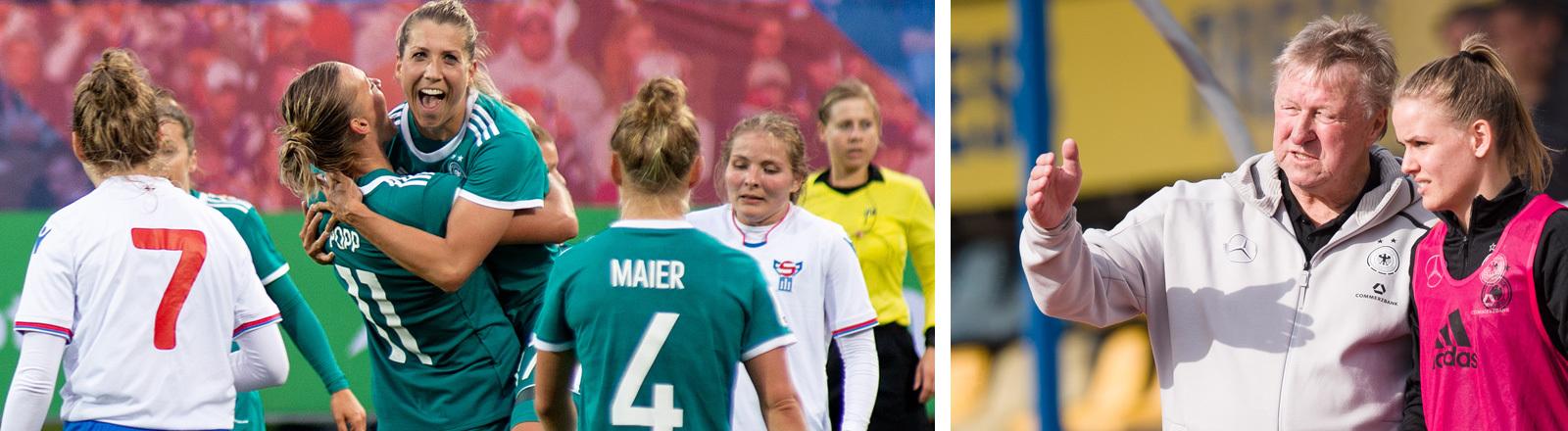 Collage: Links: Am 04.09.2018 gewinnen das deutsche Nationalteam gegen Färöer bei der WM-Qualifikation Europa: rechts: der Trainer Horst Hrubesch; Fotos: dpa