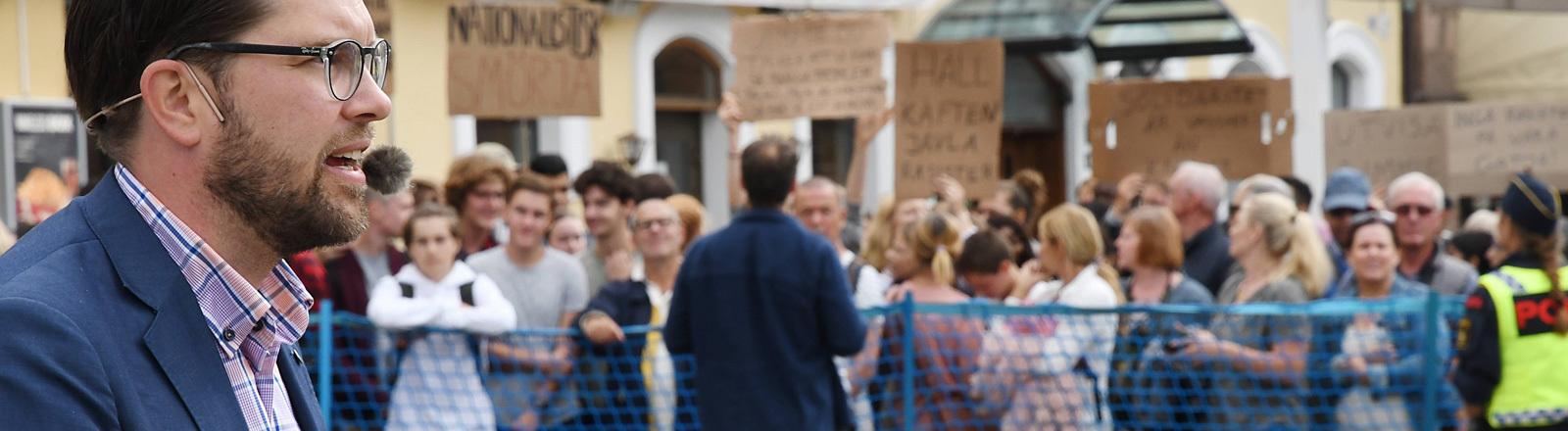 Jimmie Akesson bei einer Wahlkampfveranstaltung in Malmö (31.08.18). Er ist Parteichef der Schwedendemokraten.