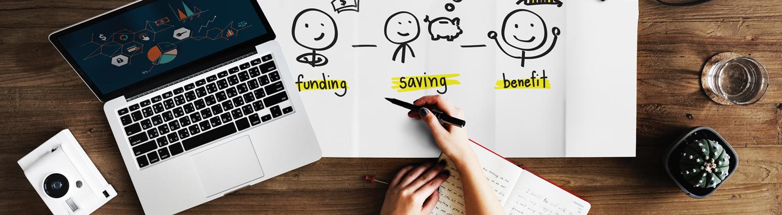 Symbolbild für ein Startup-Unternehmen. Auf dem Tisch steht ein Laptop, ein Notizbuch und Ein Blatt Papier mit einen Finanzstrategie.