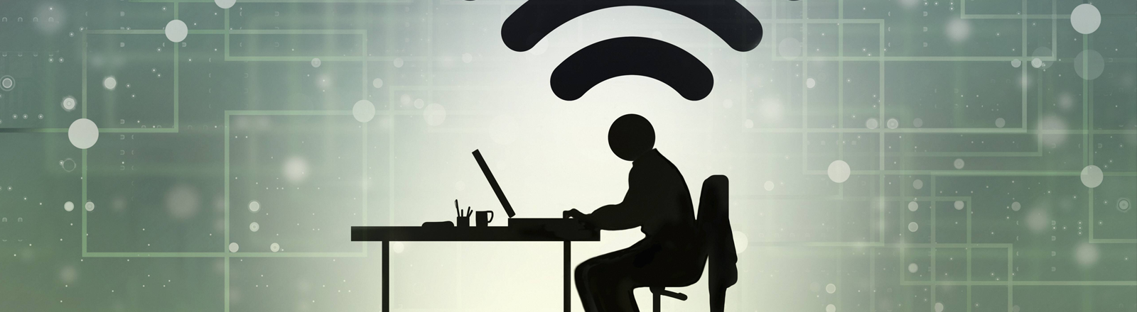 Grafik von einem Menschen an einem Schreibtisch mit Laptop, darüber das WLAN-Zeichen, im Hintergrund schematische Darstellung eines Netzwerkes.
