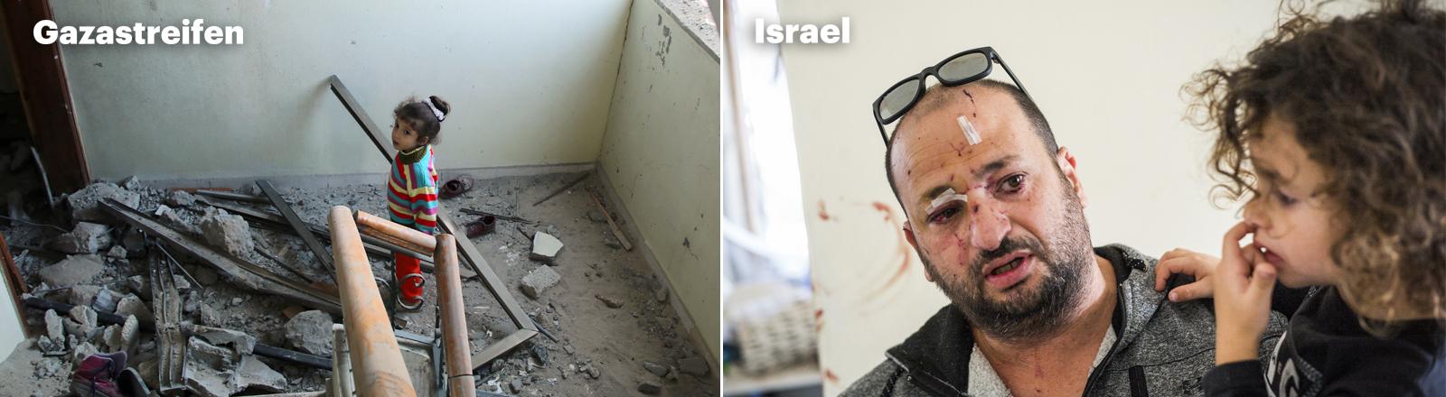 Links: Ein kleines Mädchen steht in einem völlig zerstörten Treppenhaus in Gaza. Rechts: Ein Vater im israelischen Aschkelon hat Wunden im Gesicht, er hält sein Kind auf dem Arm.