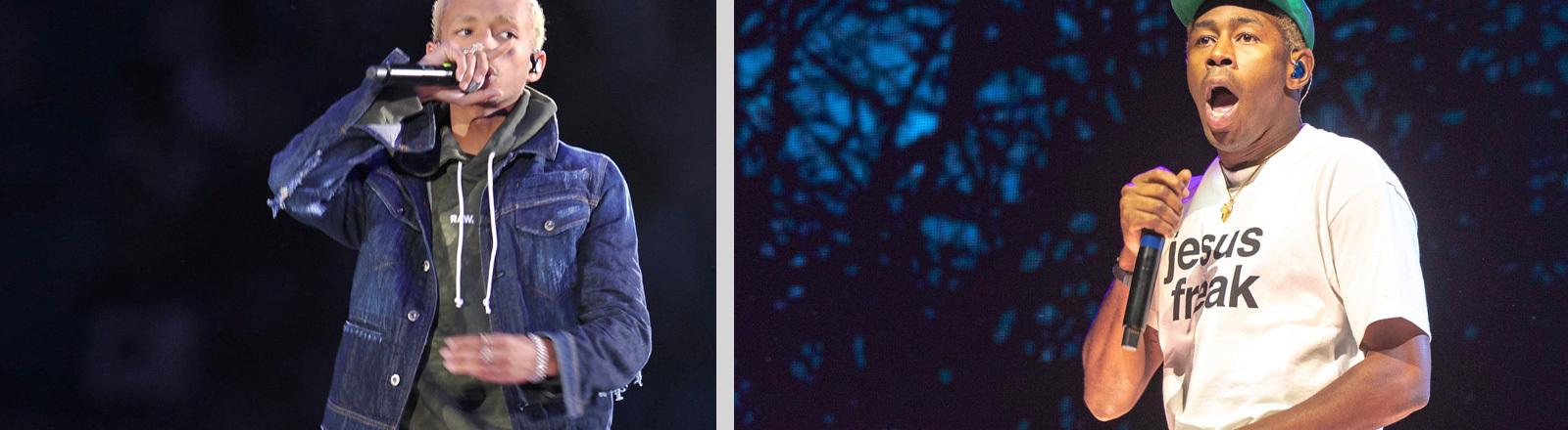 Collage: links bei einem Auftritt Jaden Smith; rechts Tyler the Creator