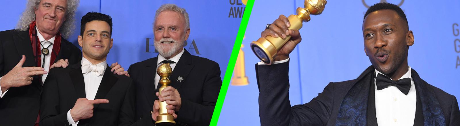 Collage: Bei den Golden Globes 2019 steht der Schauspieler Rami Malek zwischen Brian May und Roger Taylor von Queen (links); (rechts) Der Schauspieler Mahershala Ali hebt einen der Golden Globes in die Höhe.