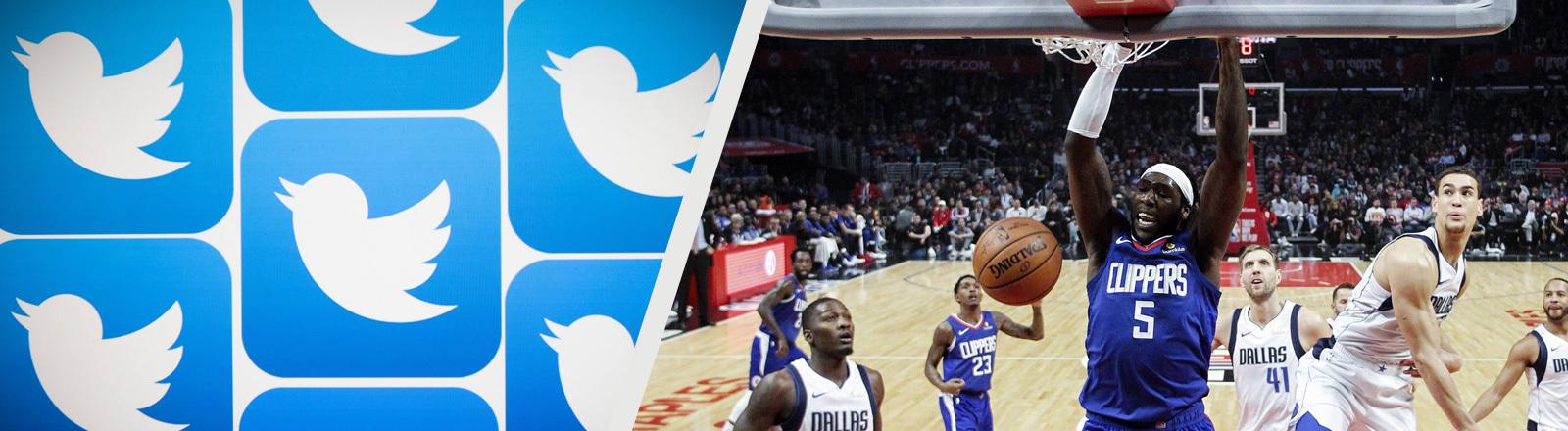 Collage: Das Bild links zeigt das Twitter-Logo: einen Vogel; das Bild rechts zeigt ein Basketball-Spiel der NBA zwischen den Los Angeles Clippers und den Dallas Mavericks (20.12.2018). Ein Spieler macht einen Korb.
