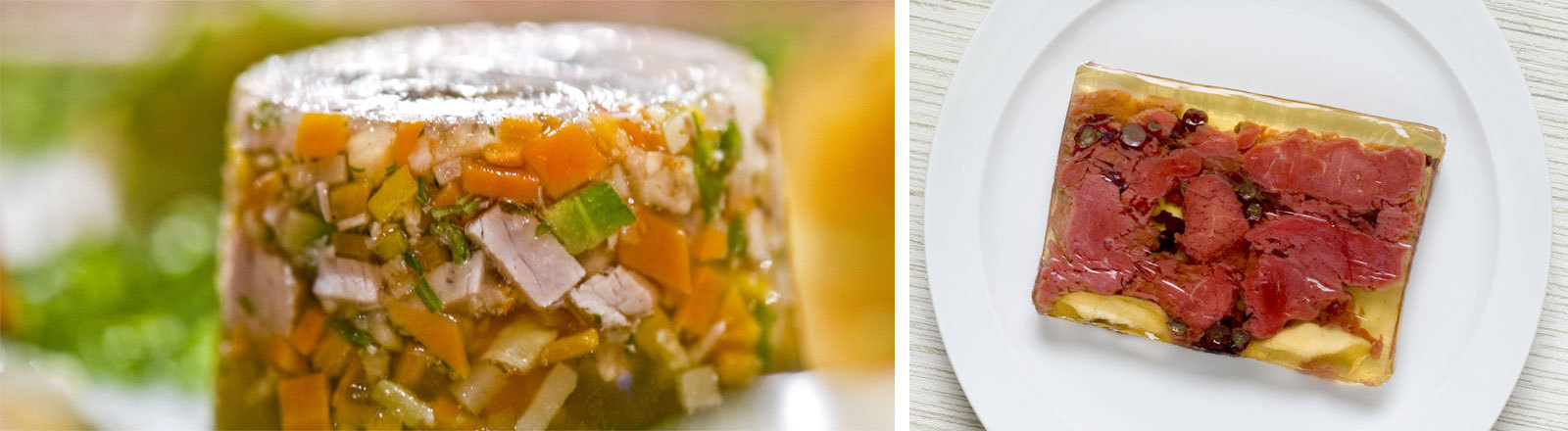 Bild-Collage: Das linke Bild zeigt runde Sülze.Im Bild rechts liegt eine Scheibe Sülze auf einem Teller.