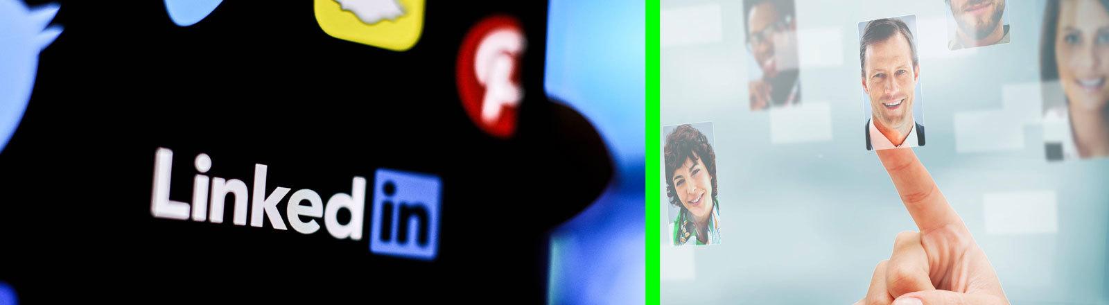 Collage: Das Foto links ist ein Symbolfoto. Es zeigt das Logo des Online-Netzwerkes LinkedIn; rechts sind wie auf einem Bildschirm Profilfotos zu sehen und ein Finger, der sie antippt.