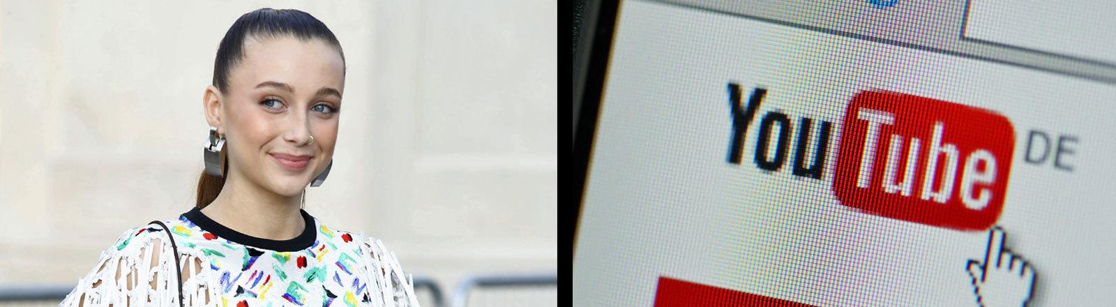 Youtuberin Emma Chamberlain und das Logo von Youtube auf einem PC.