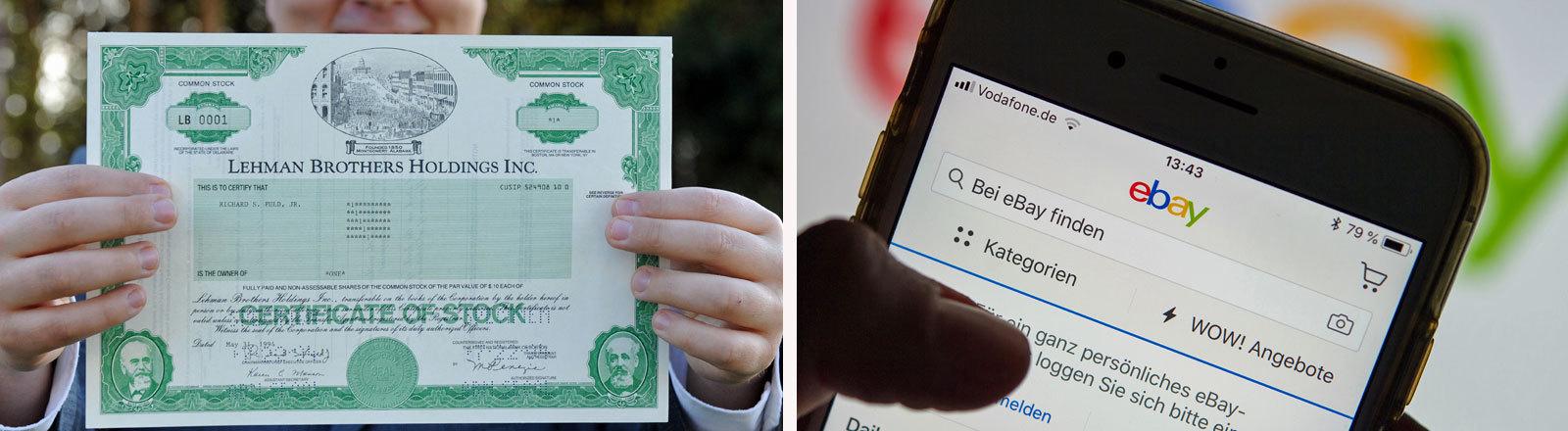 Lehman Brothers Aktie und ein Smartphonebildschirm, auf dem Ebay aufgerufen wird.