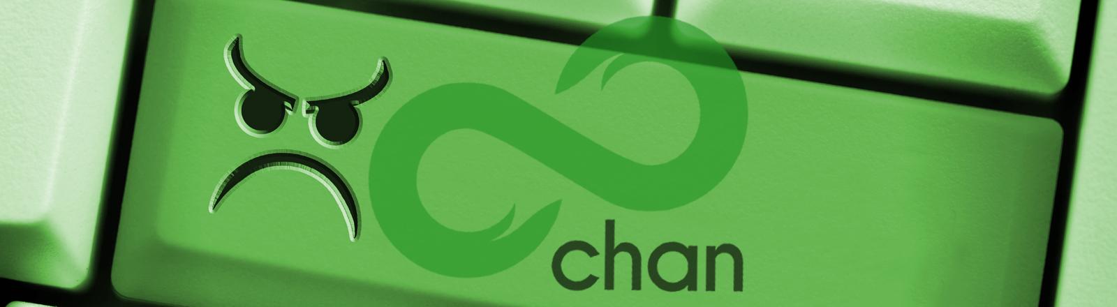 Eine Tastatur mit einem wütenden Smiley drauf und dazu das Logo der Plattform 8chan