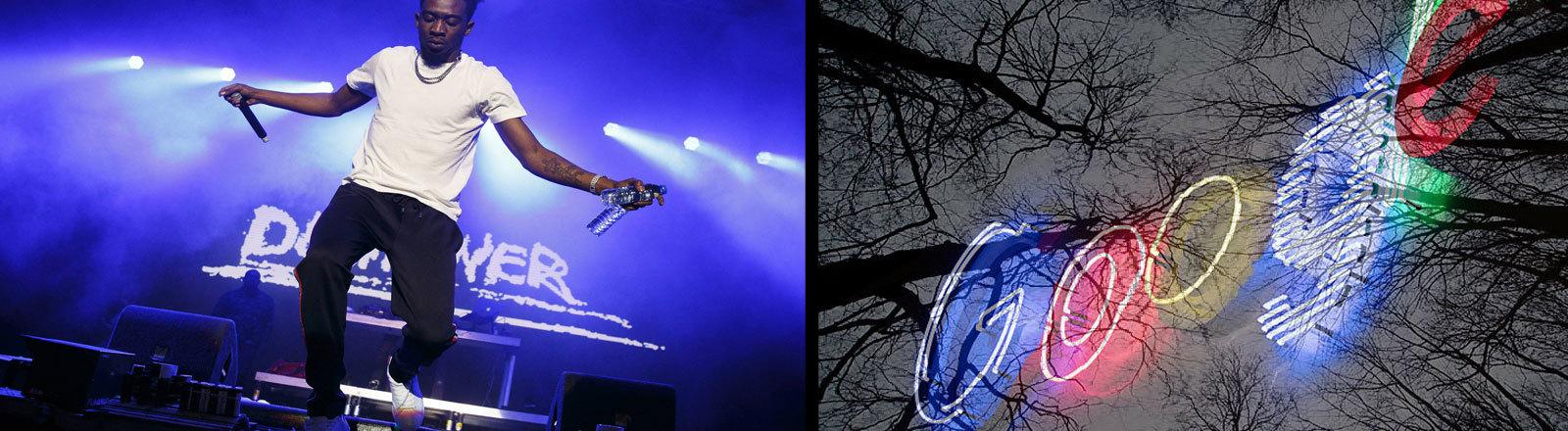 Collage: Links im Bild ist der Rapper Desiigner bei einem Konzert im August 2018; rechts im Bild der Schriftzug Google vor grauen Bäumen; Foto: Imago und dpa