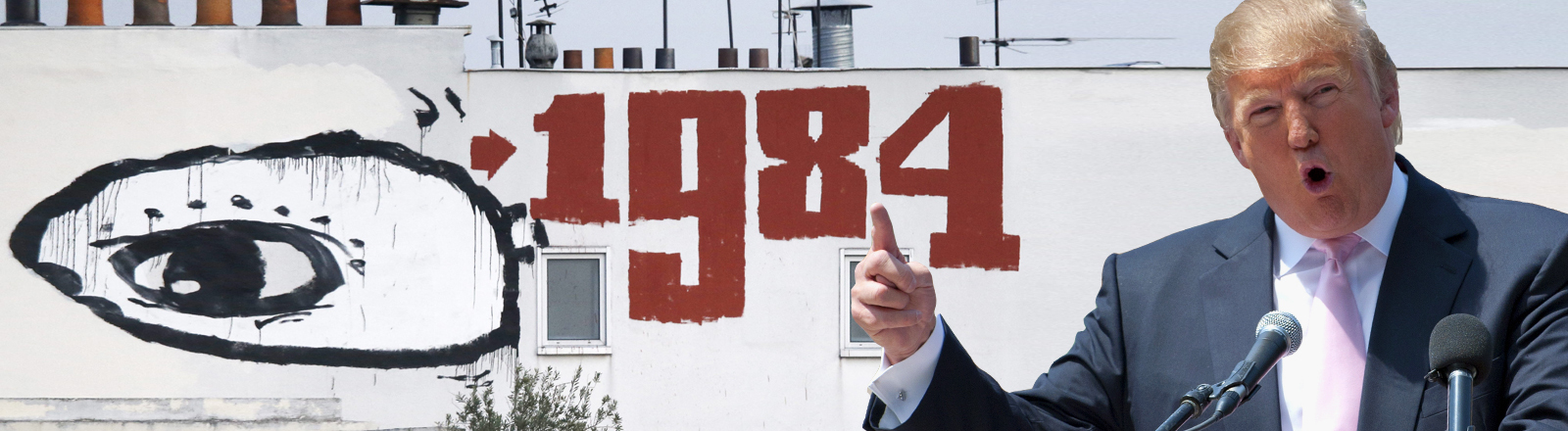 Donald Trump vor Wand mit 1984-Graffiti
