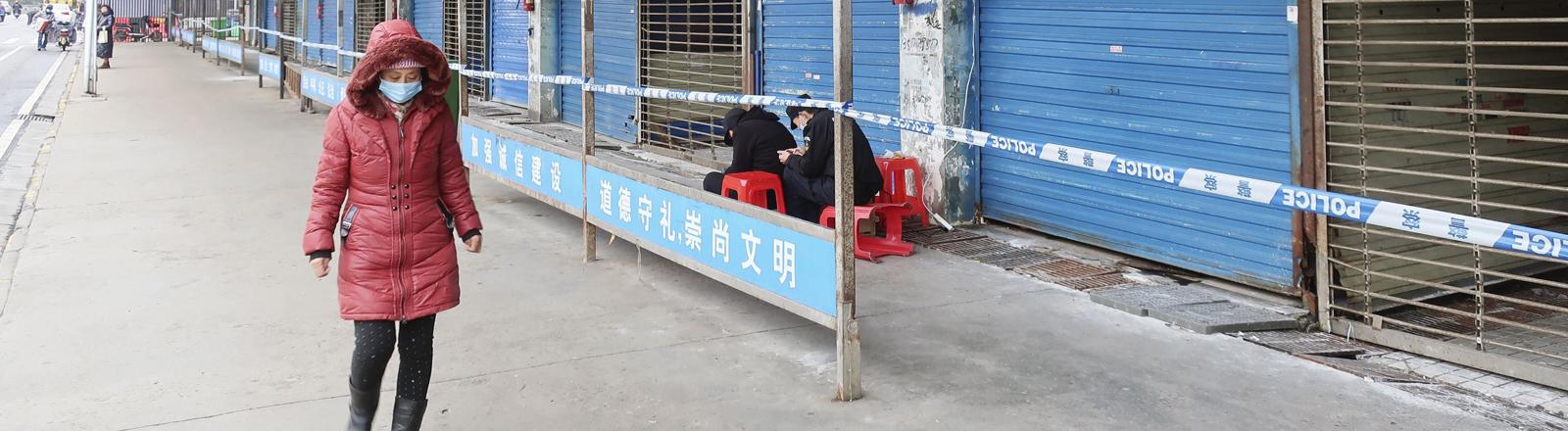 Straße in Wuhan am 17.01.2020