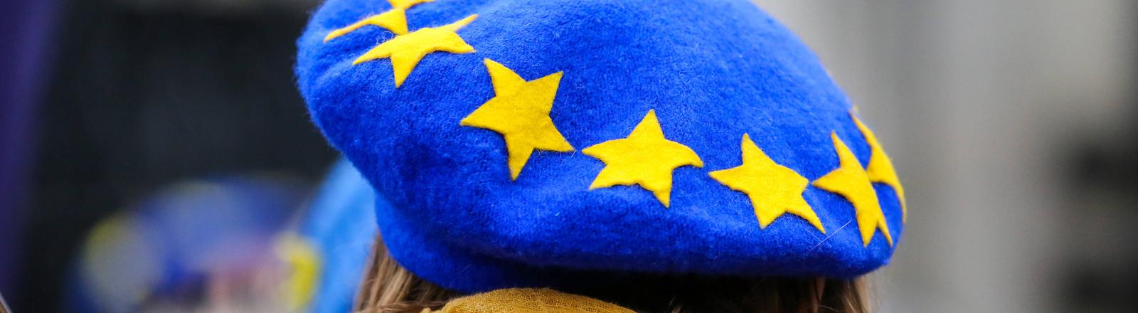 EU-Befürworterin vor dem Houses of Parliament in London am 30.01.20