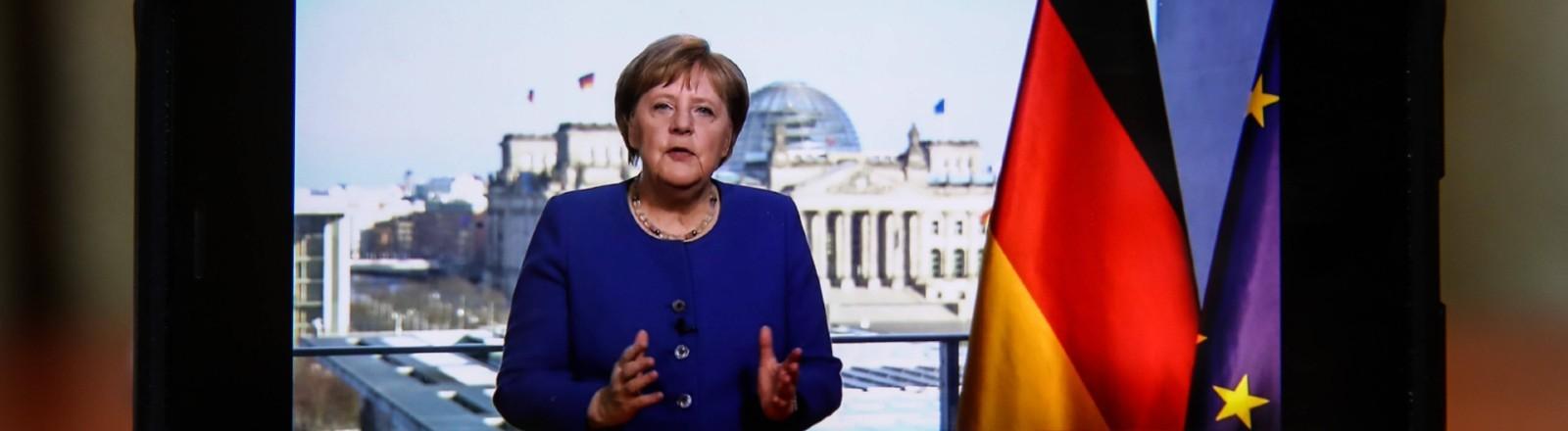 TV-Ansprache von Angela Merkel am 18.03.2020 auf einem Smartphone-Bildschirm