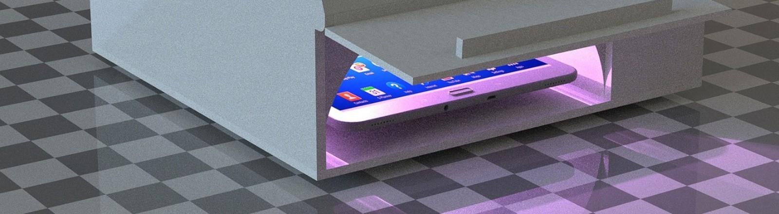 Prototyp des Fraunhofer Institus von Desinfektionsgerät mit LED-UV-C-Licht
