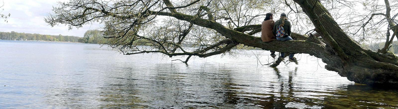 Zwei Freunde sitzen auf einem ins Wasser ragenden Asts eines Baumes. Das Bild strahlt Ruhe und Vetrautheit aus. (13.04.2020)