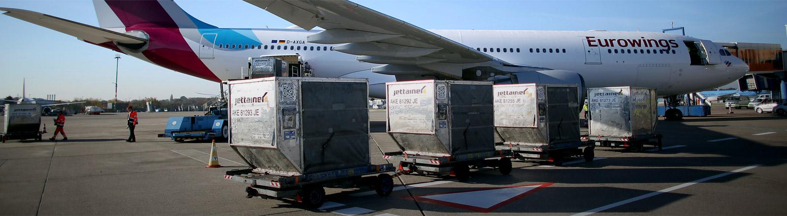 Vor einem Eurowings-Flugzeug stehen Container mit Fracht.