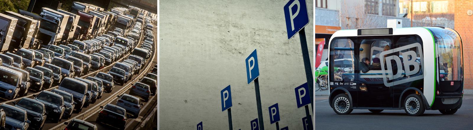 Verkehrsstau, Parkplatzschilder, selbstfahrender Kleinbus